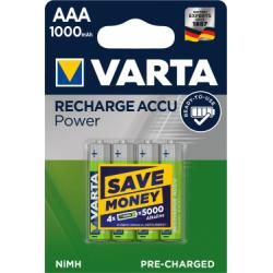 Varta Power aku Ready2Use Micro AAA 4ks balení 1000mAh originál